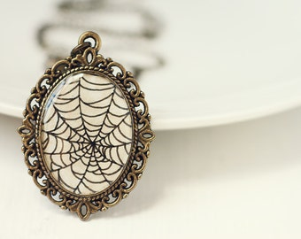 Hand Painted Halloween Art Pendant Necklace, Original Painting, Ink Drawing - Spiderweb