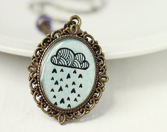 Hand Painted Cloud Art Pendant Necklace, Original Painting, Ink Drawing - Raining Hearts