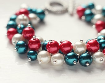 Deep Teal and Red Christmas Wedding Bridesmaid Jewelry Pearl Cluster Bracelet - Holly Berries