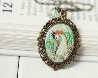 Woodland Bird Vintage Art Pendant Necklace - The Great Crested Grebe