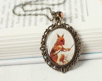 Woodland Squirrel Vintage Art Pendant Necklace - The Squirrel's Nest