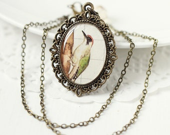 Bird Woodland Vintage Art Pendant Necklace - The Little Woodpecker