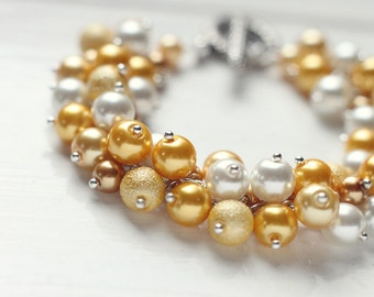 Yellow Spring Wedding Pearl Cluster Bracelet, Bridesmaid Jewelry, Fall Autumn and Summer Weddings - My Little Sunshine