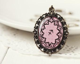 Sagittarius Zodiac Pendant Necklace, Light Pink Hand Drawn Art Original Painting