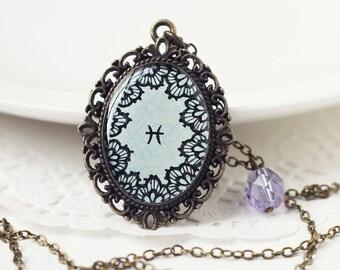 Pisces Zodiac Astrology Pendant Necklace, Light Blue Lace Hand Drawn Art Original Painting