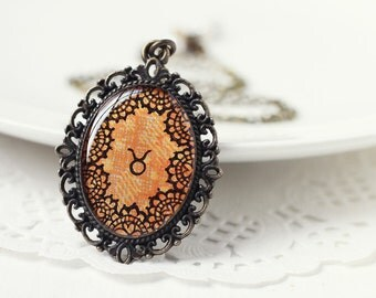 Zodiac Taurus Astrology Pendant Necklace, Orange Lace Hand Drawn Art Original Painting