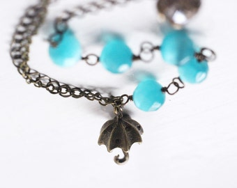Winter Wedding Bright Azure Blue Umbrella, Cats Eye Bracelet, Multi Chain Asymmetrical - Dancing in the Rain