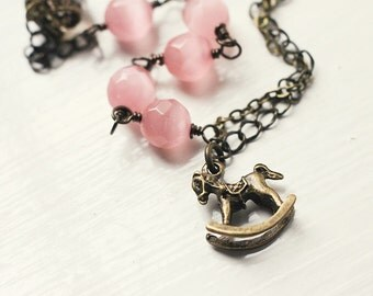 Spring Wedding Peach Pink Rocking Horse, Cats Eye Bracelet, Multi Chain Asymmetrical, Bridesmaid Jewelry - Sweet Little Pony