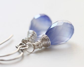 Cornflower Blue Chalcedony Teardrop Earrings, Bridesmaid Jewelry - Winter's Rain