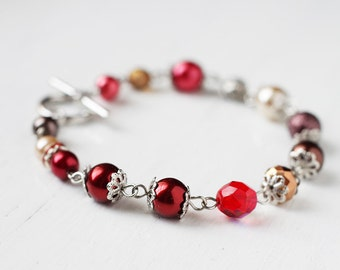 Dark Red Cherry Harvest Beaded Bracelet With Glass Pearls and Czech Glass Beads