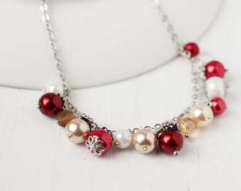 Charm Necklace - Holiday Cheer, Christmas Bridesmaid Jewelry