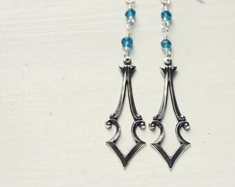 Arrowhead  Earrings, Blue Topaz Silver Plated Brass Tarnished Art Deco Vintage Look