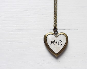 Custom Personalized Initials Heart Locket - Valentines Gift for Couples, Moms, Sisters, BFFs. Monogram Pendant