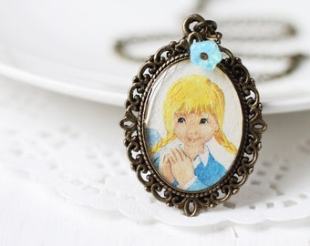 Vintage Art Pendant Necklace - Little Girl in Pigtails