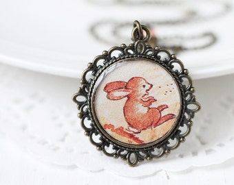 Bunny Woodland Vintage Art Pendant Necklace, Easter - Jumping Rabbit