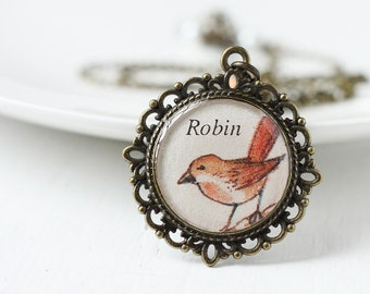 Robin Bird Woodland Children's Book Vintage Art Pendant Necklace