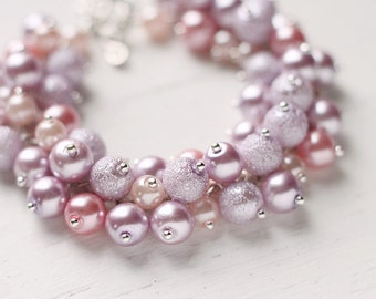 Lavender and Pink Color Bridesmaids Jewelry Pearl Cluster Bracelet - Pastel Lavender Dreams