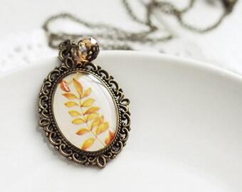 Autumn Yellow Leaves Vintage Art Pendant Necklace Fall Wedding