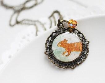 Squirrel Woodland Vintage Art Pendant Necklace - Smiling Squirrel on Snow