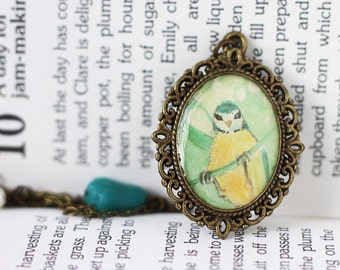Bird Woodland Vintage Art Pendant Necklace - The Acrobatic Blue Tit