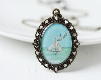 Summer Blue Vintage Art Pendant Necklace - The Sailboat at Sea