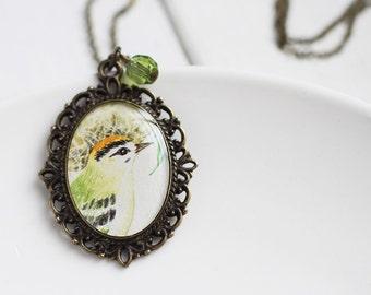 Woodpecker Bird Woodland Vintage Art Pendant Necklace Light Lime Green