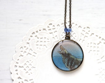Howling Wolf Blue Art Pendant Necklace Vintage Art, Round Pendant Night Werewolf