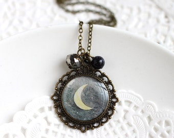 Crescent Moon Vintage Art Pendant Necklace - Lunar Phase Black Night Yellow Moon
