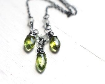 Green Peridot Necklace, aquamarine oxidized sterling silver, August Birthstone - Absinthe