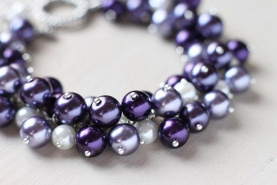 Purple Wedding Bridesmaid Jewelry Pearl Cluster Bracelet - Plum