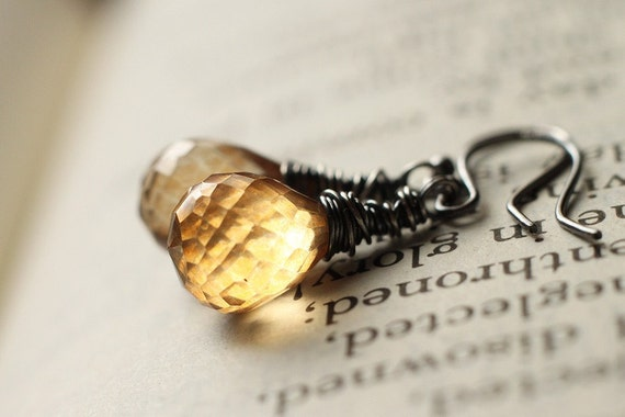 Sun Kissed Yellow Mystic Quartz Citrine Sterling Silver Earrings - Sunset, November Birthstone