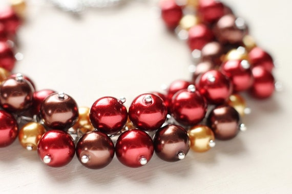 Pearl Cluster Bracelet - Chocolate Cherry - Red Brown Fall Autumn Wedding Bridesmaid Jewelry
