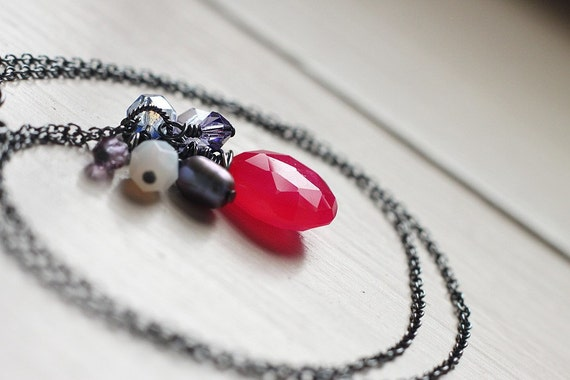 Dark Ruby Pink Chalcedony Oxidized Sterling Silver Necklace - Raspberry