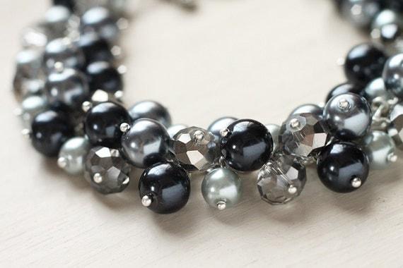 Black Grey Silver Bridesmaid Jewelry Pearl Cluster Bracelet - Night Sky
