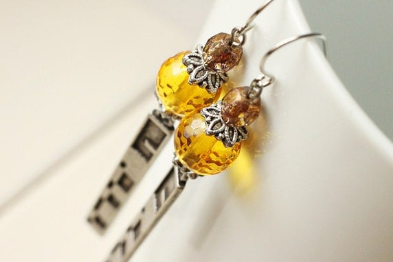 Honey Yellow Glass Long Earrings - Modern Traditions