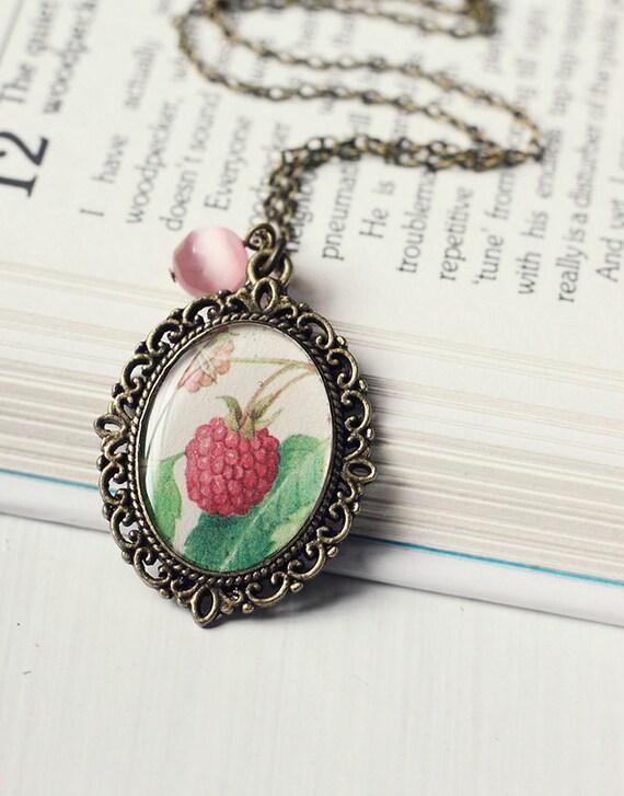 Raspberry Vintage Art Pendant Necklace