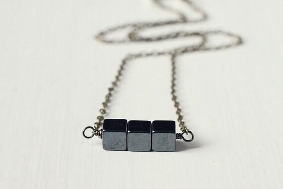 Minimalistic Geometric Jewelry Antique Bronze Cube Hematite Necklace - Blocks