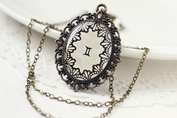 Gemini Zodiac Astrology Pendant Necklace, Cream White Beige Lace Hand Drawn Art Original Painting