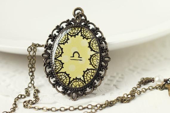 Libra Zodiac Astrology Pendant Necklace, Light Yellow Lace Hand Drawn Art Original Painting