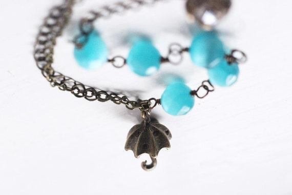 Winter Wedding Bright Azure Blue Umbrella, Cats Eye Bracelet, Multi Chain Asymmetrical - Dancing in the Rain