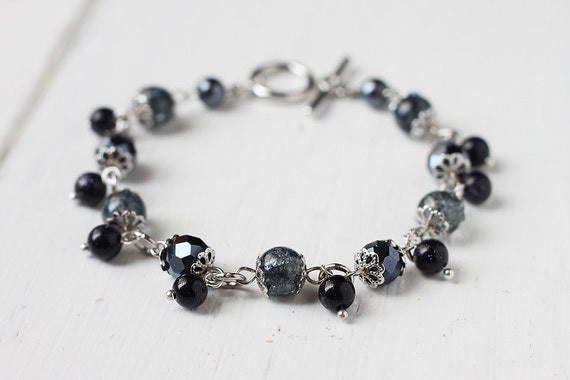 Moons and Planets Bracelet with Crackled Beads, Chinese Glass Beads and Blue Sandstone