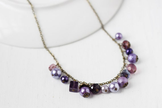 RESERVED Purple Wedding Bridesmaid Jewelry Pearl Beaded Necklace - Royalty