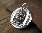 Dog Pendant, PMC Artisan Jewelry, Cute Terrier in Window, Fine and Sterling Silver