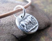 Patience, Horse Jewelry, PMC Tiny Saddled Horse Charm in Fine Silver with Sterling Finding