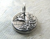 PMC Artisan Jewelry, Teensy Bird, Handmade Charm in Fine Silver with Sterling Finding
