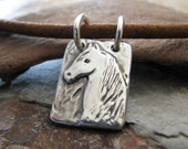 Silver Horse Jewelry,  Artisan Handmade PMC Fine Silver Horse Pendant with Sterling, OOAK Original by SilverWishes