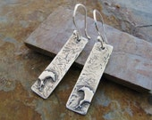 Artisan PMC Horse Jewelry, Wild Horse Rustic Rectangle Earrings in Fine and Sterling Silver by SilverWishes