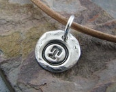 Personalized Rustic Silver Charm, Handmade PMC Fine Silver Charm, Vintage Style Letter