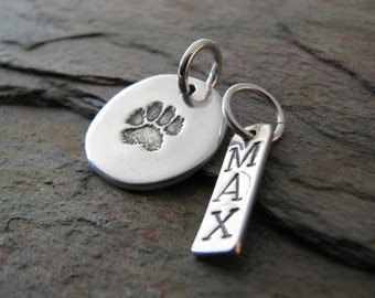 Personalized Artisan PMC Jewelry, Pet Pawprint Fine Silver Pendant and Name Charm, Precious Metal Clay