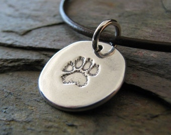 Personalized Pawprint Charm, Handmade with Recycled Silver, by SilverWishes
